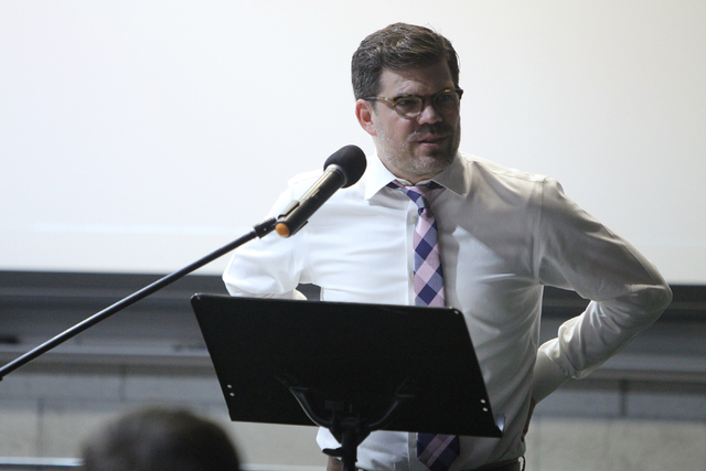 """Guest speaker and former Seventh-day Adventist pastor Ryan Bell speaks during the Sunday Assembly, an """"atheist church,"""" at UNLV in Las Vegas Sunday, June 14, 2015. (Erik Verduzco/Las Vegas Review- ..."""