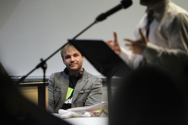 Kevin Breen, organizer for Sunday Assembly, an atheist church, listens to guest speaker and former Seventh-day Adventist pastor Ryan Bell during a Sunday Assembly event at UNLV in Las Vegas Sunday ...