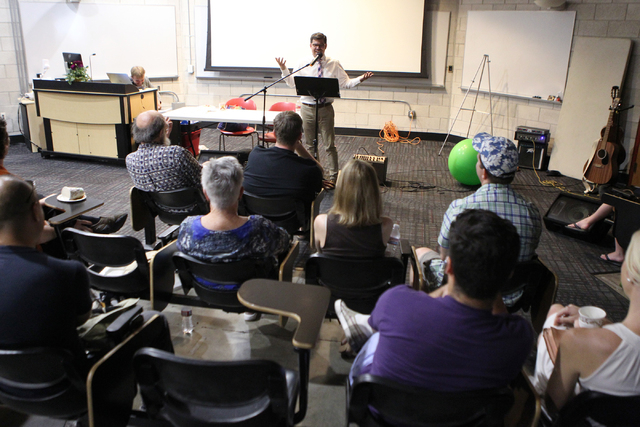 Guest speaker and former Seventh-day Adventist pastor Ryan Bell speaks during the Sunday Assembly, an atheist church, at UNLV in Las Vegas Sunday, June 14, 2015. (Erik Verduzco/Las Vegas Review-Jo ...