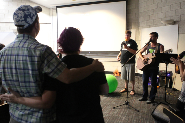 Kade Brown, left, and Zachariah Pifer, members of Sunday Assembly, an atheist church, perform a song during an event by the Sunday Assembly at UNLV in Las Vegas Sunday, June 14, 2015. (Erik Verduz ...