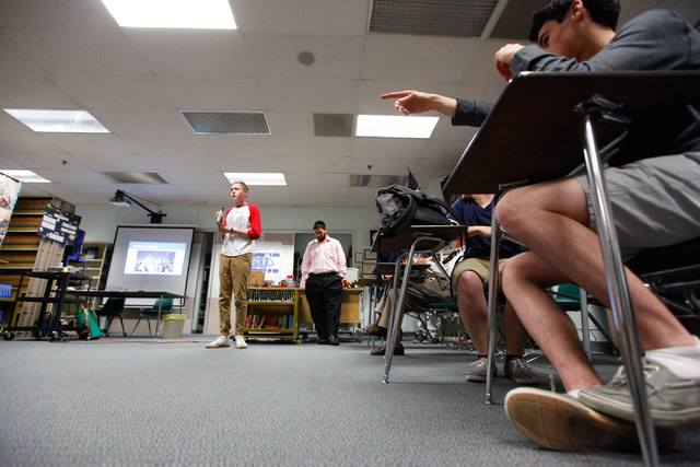 Jewish Student Union President Joseph Prager, center left, speaks during a group meeting at Advanced Technologies Academy in Las Vegas on Friday, May 9, 2014. (Chase Stevens/Las Vegas Review-Journal)