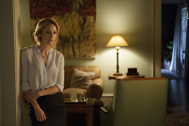 "COMPLICATIONS -- ""Pilot"" Episode 100 -- Pictured: Beth Riesgraf as Samantha Ellison -- (Photo by: Daniel McFadden/USA Network)"
