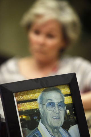 An image of Steve Rossi sits on Matt Minucci's desk in his law office on Monday, June 15, 2015, in Las Vegas. Karma Kennedy is filing a malpractice lawsuit against the late Steve Rossi's doctor. ( ...