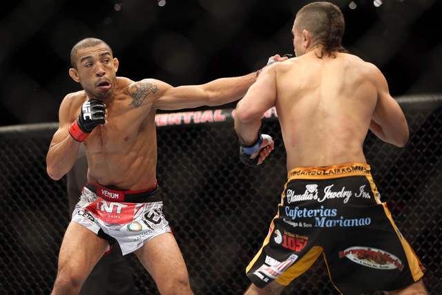 Jose Aldo, left, fights Ricardo Lamas during UFC 169 at Prudential Center in Newark, N.J., on Feb 1, 2014. (Joe Camporeale-USA TODAY Sports)