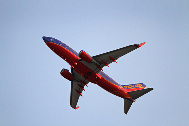 A Southwest Airlines flight takes off from Hartsfield-Jackson Atlanta International Airport early Sunday, February 12, 2012. (Courtesy CNN)