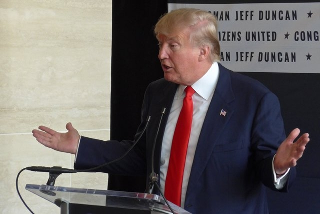 Donald Trump at the Freedom Summit, a forum for GOP Presidential hopefuls in Greenville, South Carolina on May 9, 2015.
