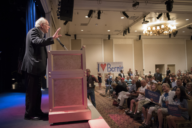 U.S. Sen. Bernie Sanders speaks at the Treasure Island hotel-casino in Las Vegas on Friday, June 19, 2015. Sanders is an independent candidate from Vermont who is seeking the Democratic nomination ...