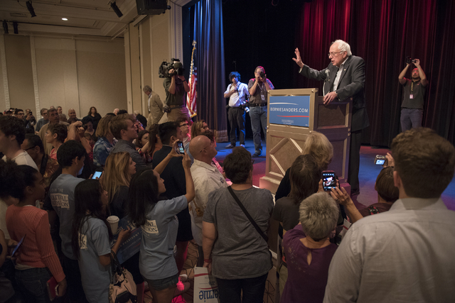 U.S. Sen. Bernie Sanders speaks at Treasure Island hotel-casino in Las Vegas on Friday, June 19, 2015. Sanders is an independent candidate from Vermont who is seeking the Democratic nomination for ...