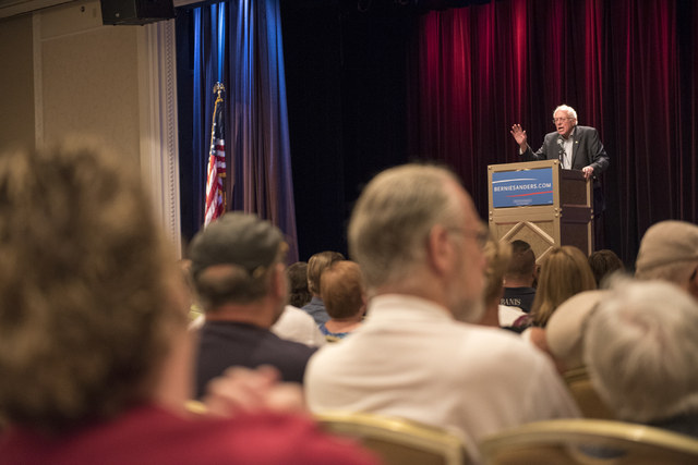 U.S. Sen. Bernie Sanders speaks at Treasure Island hotel-casino in Las Vegas on Friday, June 19, 2015. Sanders is an independent from Vermont who is seeking the Democratic nomination for president ...