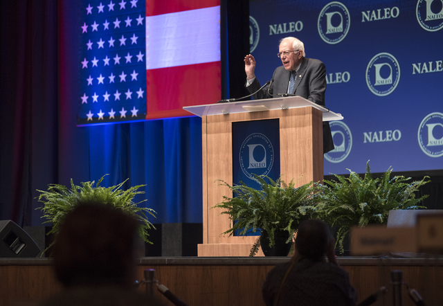 U.S. Sen. Bernie Sanders speaks at the National Association of Latino Elected and Appointed Officials (NALEO) at the Aria hotel-casino in Las Vegas on Friday, June 19, 2015. Sanders is an independ ...
