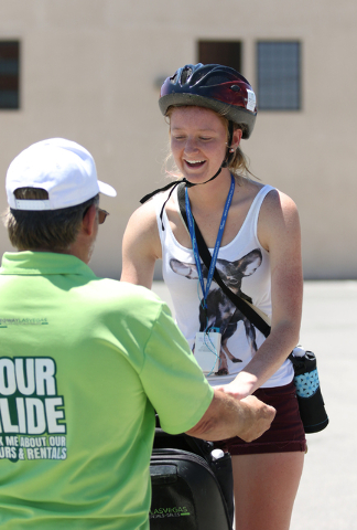 Ashley Smith, right, of Springfield, Ill., receives instructions on how to ride a Segway from guide Scott Milheiser prior to participating in an hour tour of downtown with Segway Las Vegas Tuesday ...