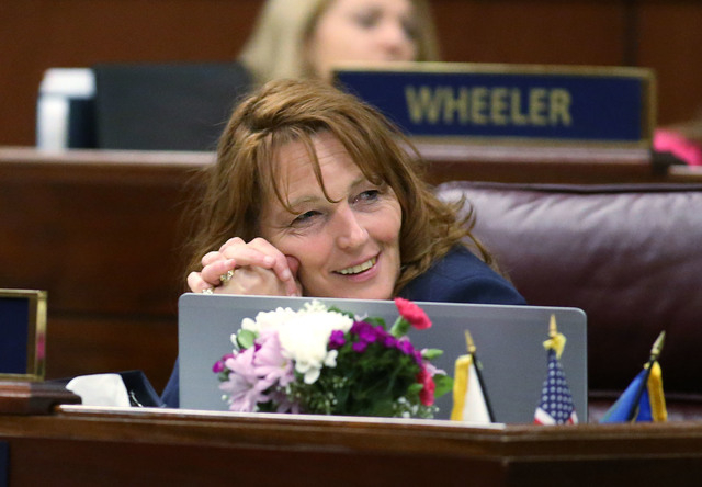Nevada Assembly Minority Leader Marilyn Kirkpatrick, D-North Las Vegas, listens to Assembly floor discussion of the live entertainment tax in the final hours of the session at the Legislative Buil ...