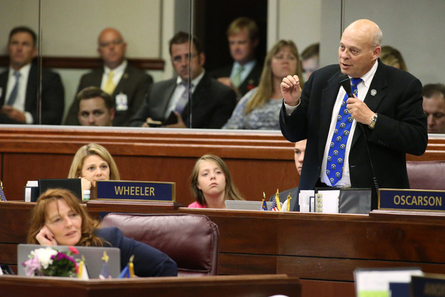 Nevada Assemblyman Jim Wheeler, R-Minden, speaks in opposition to Minority Leader Marilyn Kirkpatrick, D-North Las Vegas, live entertainment tax during Assembly floor discussion discussion in the  ...