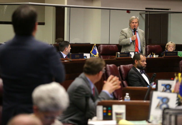 Nevada Sen. Tick Segerblom, D-Las Vegas, speaks out in opposition to a bill that included $1 million in funding for a new execution chamber during Senate floor discussion in the final hours of the ...