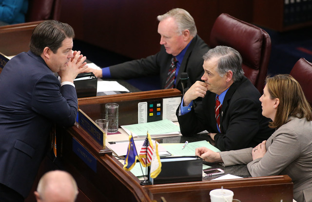 Nevada Senate Republicans, from left, Michael Roberson, Don Gustavson, James Settelmeyer and Becky Harris work in the final hours of the session at the Legislative Building in Carson City, Nev., o ...