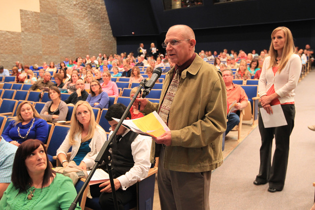 Sen. Joe Hardy, R-Boulder City, speaks during a parental input meeting to discuss changes to the Clark County School District's sex education curriculum. (Sam Morris/Las Vegas Review-Journal)