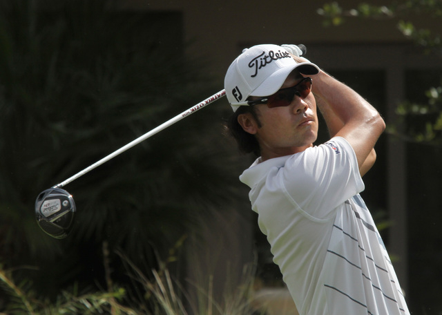 JEFF SCHEID/LAS VEGAS REVIEW-JOURNAL Kevin Na tees off on the third hole during the annual Justin Timberlake Shriners Hospitals for Children Open at TPC Summerlin golf club in Las Vegas on Sunday  ...