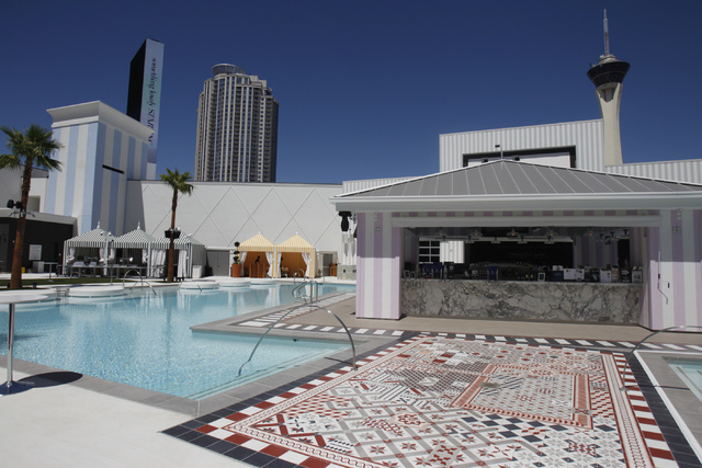 The pool area at SLS Las Vegas casino-hotel in Las Vegas is seen during a tour Friday, Aug. 22, 2014. (Erik Verduzco/Las Vegas Review-Journal)