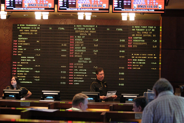 The Golden Nugget sports book in Las Vegas is seen on Sunday, March 15, 2015, as the 2015 men's basketball NCAA Tournament bracket was released. (Erik Verduzco/Las Vegas Review-Journal file)