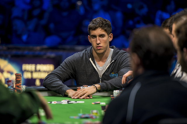 Daniel Colman glances down the table during the One Drop High Roller final table at the World Series of Poker at the Rio Convention Center in Las Vegas on Monday, June 29, 2015. (Joshua Dahl/Las V ...