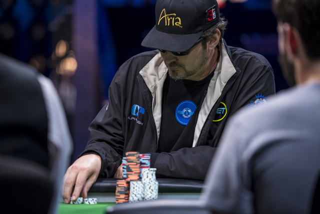 Phil Hellmuth stacks chips during the One Drop High Roller final table at the World Series of Poker at the Rio Convention Center in Las Vegas on Monday, June 29, 2015. (Joshua Dahl/Las Vegas Revie ...