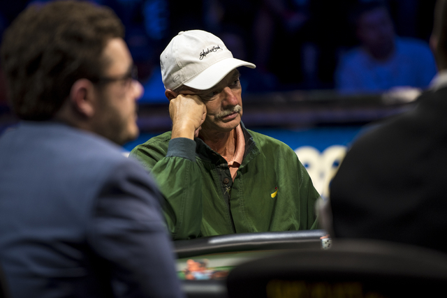 William Klein glances down the table during the One Drop High Roller final table at the World Series of Poker at the Rio Convention Center in Las Vegas on Monday, June 29, 2015. (Joshua Dahl/Las V ...
