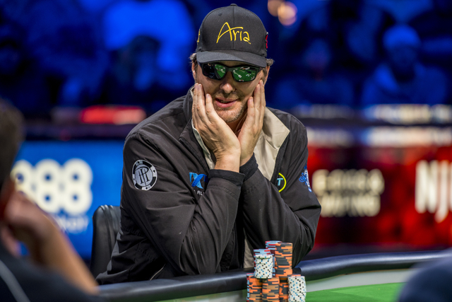 Phil Hellmuth glances down the table during the One Drop High Roller final table at the World Series of Poker at the Rio Convention Center in Las Vegas on Monday, June 29, 2015. (Joshua Dahl/Las V ...