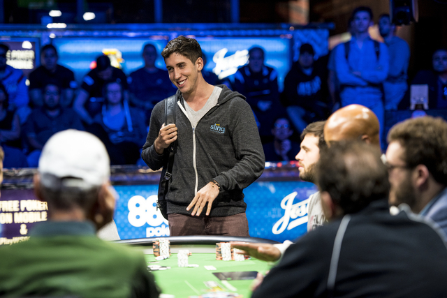 Daniel Colman stands over the table during the One Drop High Roller final table at the World Series of Poker at the Rio Convention Center in Las Vegas on Monday, June 29, 2015. (Joshua Dahl/Las Ve ...