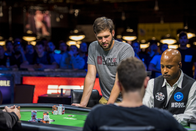 Ben Sulsky stands over the table during the One Drop High Roller final table at the World Series of Poker at the Rio Convention Center in Las Vegas on Monday, June 29, 2015. (Joshua Dahl/Las Vegas ...