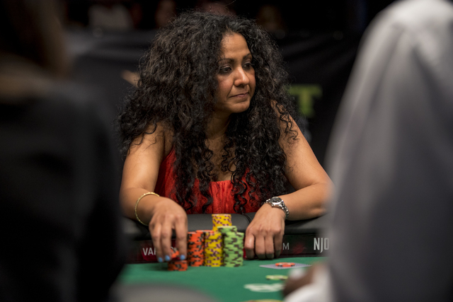 Parm Mehmi glances over during the final table of the Ladies Championship at the World Series of Poker at the Rio Convention Center in Las Vegas on Sunday, June 28, 2015. (Joshua Dahl/Las Vegas Re ...