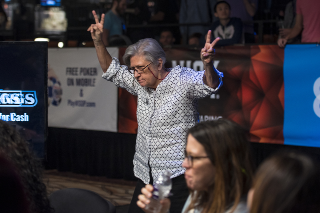 Jacquelyn Scott celebrates after winning a hand during the final table of the Ladies Championship at the World Series of Poker at the Rio Convention Center in Las Vegas on Sunday, June 28, 2015. ( ...
