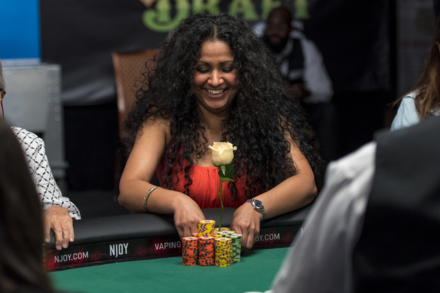 Parm Mehmi smiles during the final table of the Ladies Championship at the World Series of Poker at the Rio Convention Center in Las Vegas on Sunday, June 28, 2015. (Joshua Dahl/Las Vegas Review-J ...
