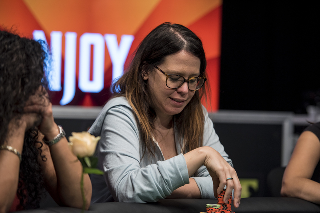 Hope Williams stacks her chips during the final table of the Ladies Championship at the World Series of Poker at the Rio Convention Center in Las Vegas on Sunday, June 28, 2015. (Joshua Dahl/Las V ...