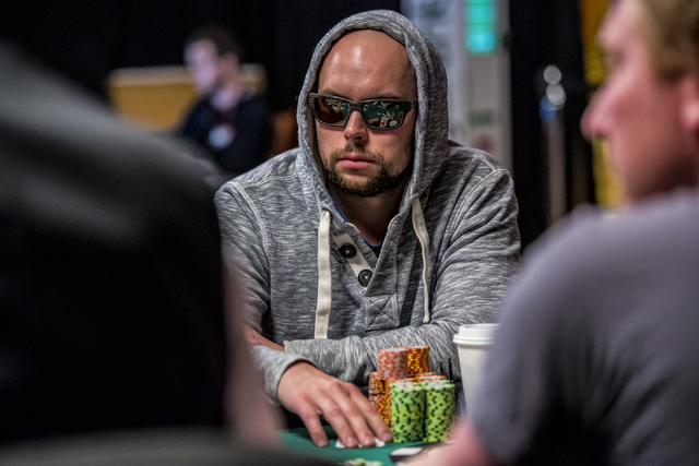 """Eric Place surveys the table during the World Series of Poker's $1,500 buy-in """"Monster Stack"""" tournament held at the Rio Convention Center in Las Vegas on Tuesday, June 16, 2015. (Joshua ..."""