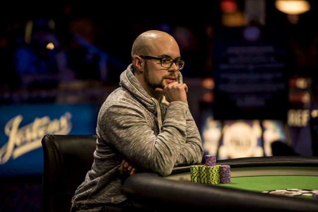 """Eric Place surveys the table during the final table of the World Series of Poker's $1,500 buy-in """"Monster Stack"""" tournament held at the Rio Convention Center in Las Vegas on Wednesday, J ..."""