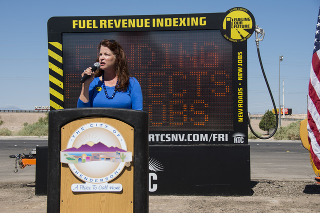 Henderson City Councilwoman Debra March speaks at the groundbreaking of the $18.5 million Stephanie Street bridge and roadway improvement project June 2. Construction is scheduled to begin June 15 ...