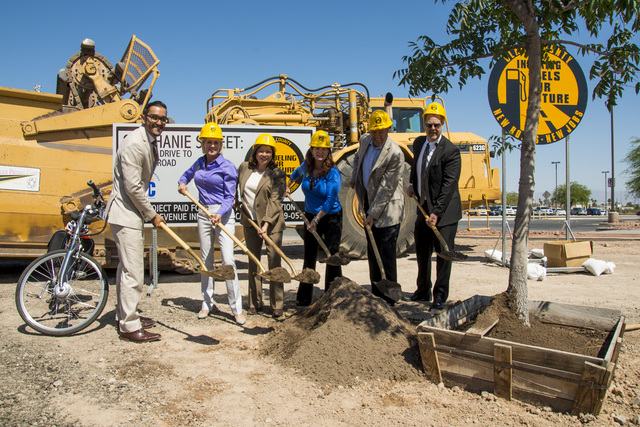 From left, Andrew Turcaz of Congressman Joe Heck's office; Tina Quigley, general manager of the Regional Transportation Commission of Southern Nevada; Councilwoman Gerri Schroder; Councilwoman D ...