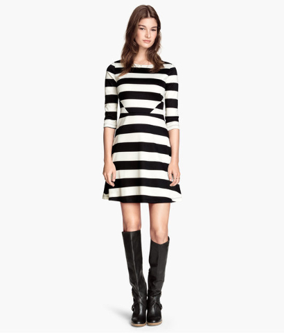Black and white striped dress.