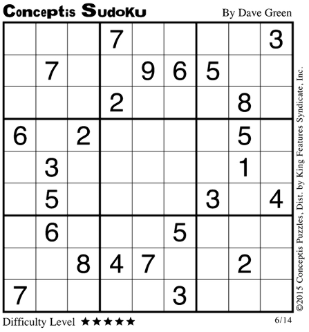 Click the image for solution to sudoku.