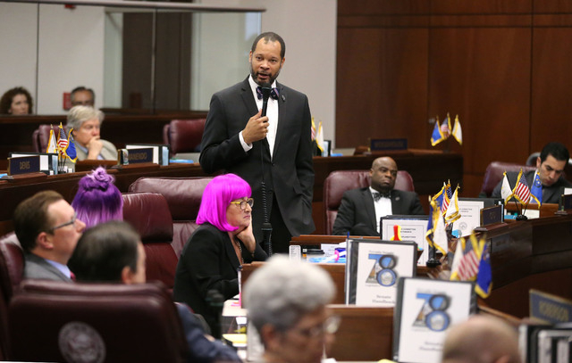 Nevada Senate Minority Leader Aaron Ford, D-Las Vegas, speaks in support of a record $1.1 billion general fund tax package during Senate floor discussion at the Legislative Building in Carson City ...