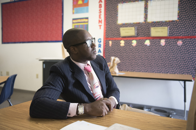 Bentley McDonald, a student teacher, listens during an interview at John C. Fremont Middle School in Las Vegas, Friday, June 26, 2015.(Jason Ogulnik/Las Vegas Review-Journal)