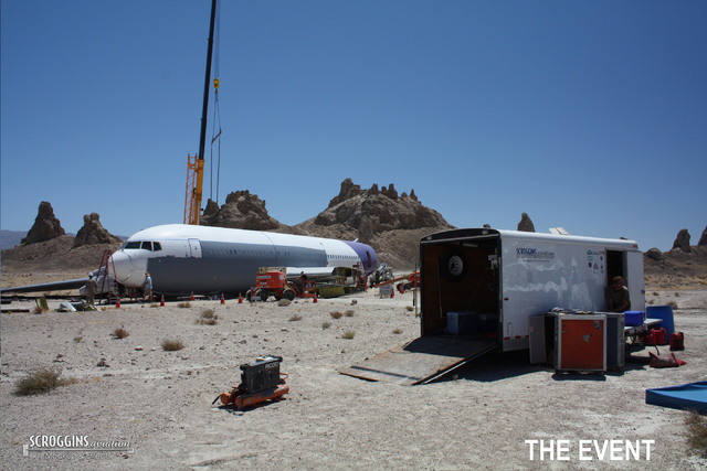 """Mockup aircraft from Las Vegas-based Scroggins Aviation is shown during the company's first job in 2010 on the NBC show """"The Event.""""  (Courtesy/Scroggins Aviation)"""