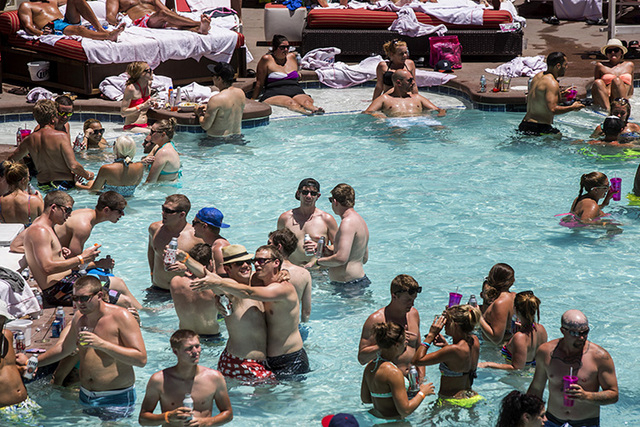 The over 21 pool at the Flamingo Las Vegas as seen Thursday, July 3, 2014. The hotel is expecting a maximum capacity of 1,600 people at the pool to celebrate Fourth of July. (Jeff Scheid/Las Vegas ...