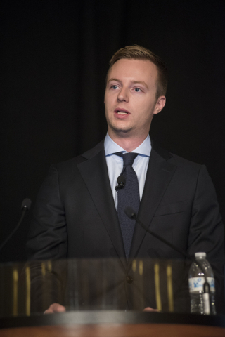 Economic analyst Ryan Kennelly speaks during the UNLV Center for Business & Economic Research biannual conference at the Sands Expo and Convention Center in Las Vegas on Thursday, June 25, 2015. ( ...