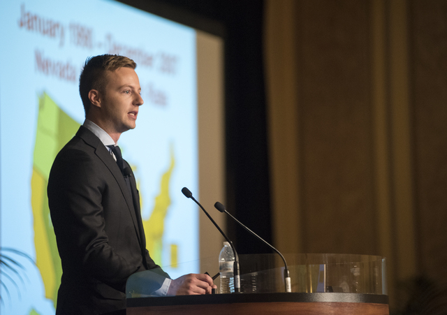 Economic analyst Ryan T. Kennelly speaks during the UNLV Center for Business & Economic Research biannual conference at the Sands Expo and Convention Center in Las Vegas on Thursday, June 25, 2015 ...