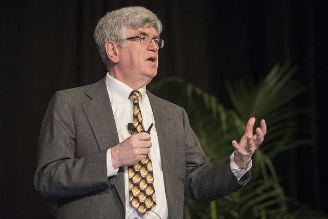 Professor of Economics Dr. Stephen Brown speaks during the UNLV Center for Business & Economic Research biannual conference at the Sands Expo and Convention Center in Las Vegas on Thursday, June 2 ...
