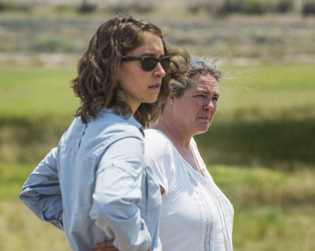 University of California, Davis graduate student Stephanie Castle, left, and veterinary professor Janet Foley, stand near a marsh outside Tecopa, Calif., Thursday, June 25, 2015. Twelve endangered ...