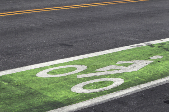 A green bike lane is seen on 6th St. on Tuesday, June 16, 2015, in Las Vegas. Green bike lanes are often more noticeable than others. (James Tensuan/Las Vegas-Review Journal) Follow James Tensuan  ...