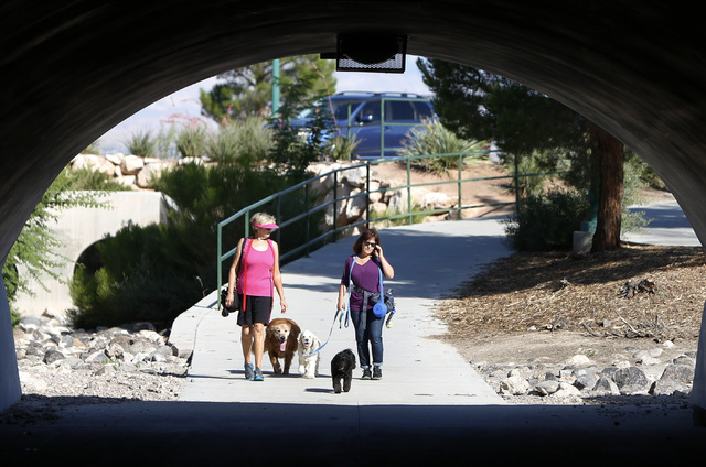 Cindy Carrig, left, and Linda, refused to provide her last name, both of Henderson, take advantage of the cool weather and walk through underpass with their dogs Danny, left, Noah and Beau, right, ...