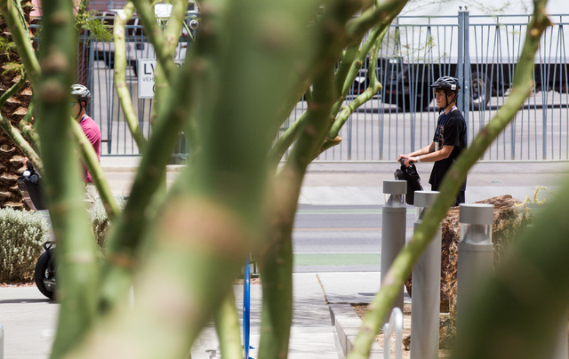 People ride segways outside of Las Vegas City Hall as temperatures rise to an expected 107 degrees in downtown Las Vegas on Wednesday, June 17, 2015. (Chase Stevens/Las Vegas Review-Journal)